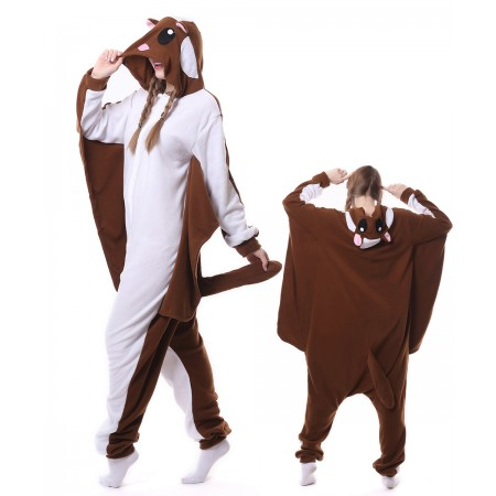 Brown Flying Squirrel Onesie Pajama Animal Costumes For Women & Men