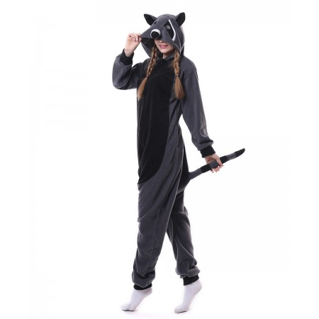 Gray Raccoon Panda Onesie Pajama Animal Costumes For Women   Men d0fcaf051