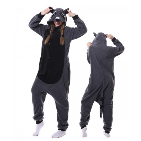 Gray Raccoon Panda Onesie Pajama Animal Costumes For Women & Men