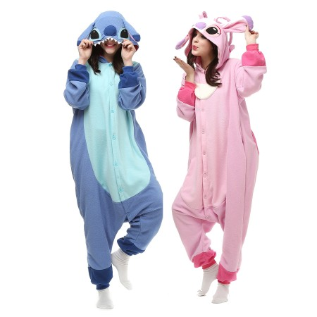 Stitch And Angel Kigurumi Onesie Pajamas Animal Costumes For Adult & Teens