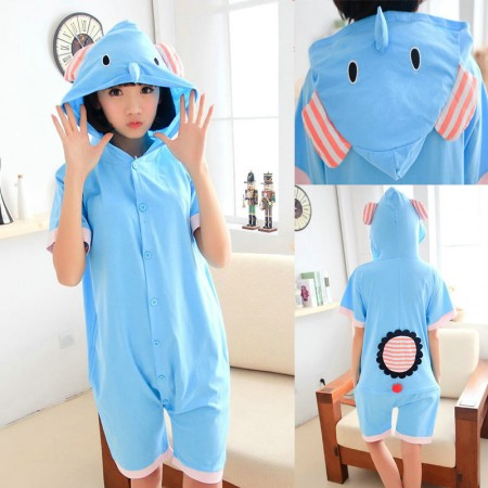 Elephant Pajamas Animal Onesie Hoodie Kigurumi Short Sleeve Costume