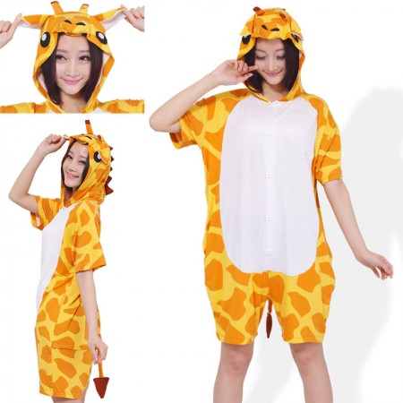Giraffe Pajamas Animal Onesie Hoodie Kigurumi Short Sleeve Costume