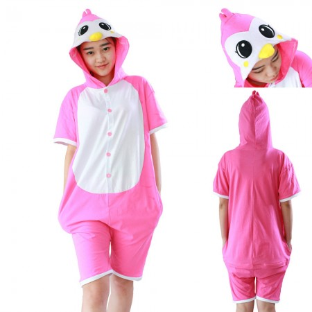 Penguin Kigurumi Animal Onesies Costumes Pajamas Pink Short Sleeve