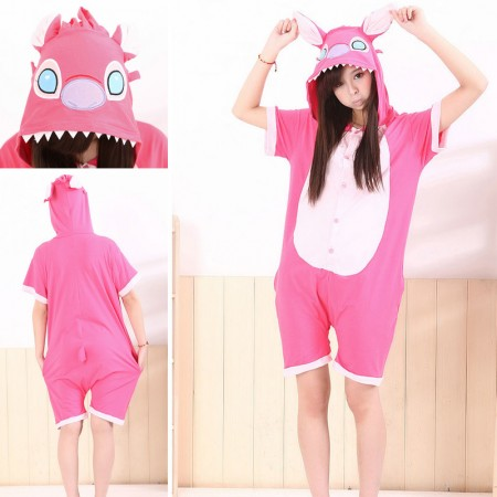 Pink Stitch Pajamas Animal Onesie Hoodie Kigurumi Short Sleeve Costume