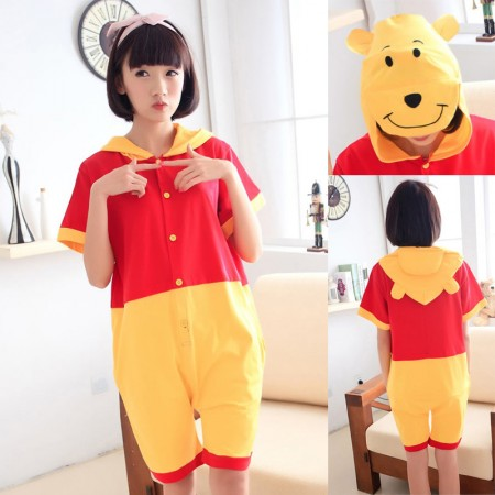 Winnie the Pooh Pajamas Animal Onesie Hoodie Kigurumi Short Sleeve
