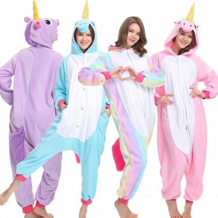 Ecparty Soft Unicorn Onesie Pajamas Sleepwear for Kids Halloween Party Costume