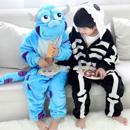 Kids Sulley & Skeleton Onesie Pajamas Animal Costumes Onesies for Boys & Girls