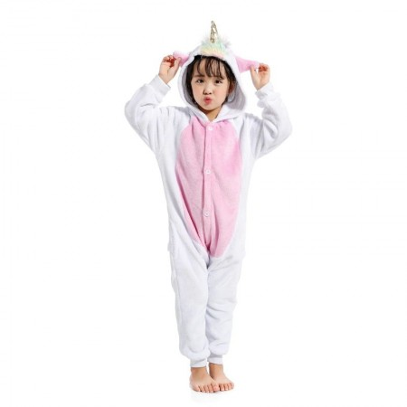 White Unicorn Onesie Pajamas Animal Kigurumi Costumes for Kids