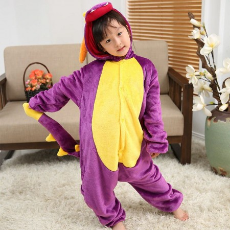 Purple Dragon Onesie Pajamas Animal Kigurumi Costumes for Kids