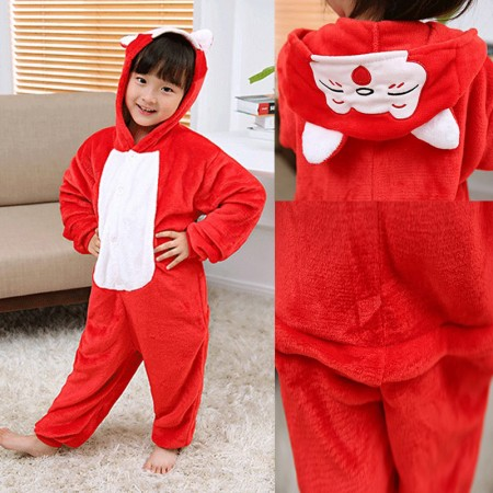 Red Fox Onesie Pajamas Animal Kigurumi Pokemon Costumes for Kids