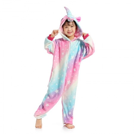 Rainbow Star Unicorn Onesie Pajamas Animal Kigurumi Costumes for Kids