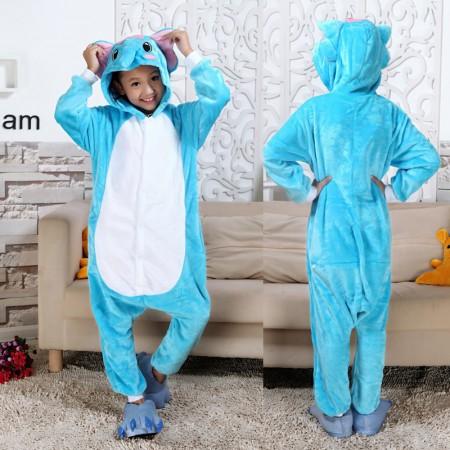 Blue Elephant Onesie Pajamas Animal Kigurumi Costumes for Kids