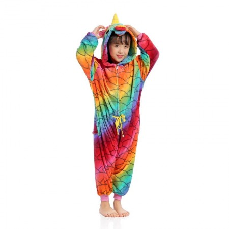 Red Rainbow Unicorn Onesie Pajamas Animal Kigurumi Costumes for Kids
