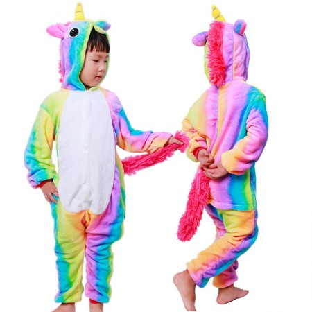 Rainbow Unicorn Onesie Pajamas Animal Kigurumi Costumes for Kids