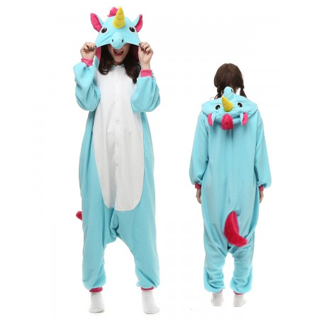 Blue Unicorn Kigurumi Onesie Pajamas Animal Costumes For Adult