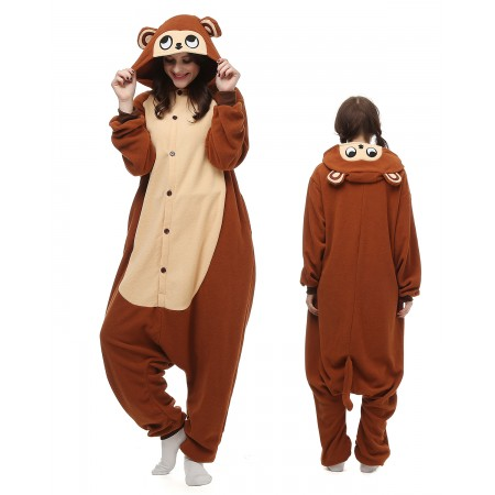 Brown Monkey Kigurumi Onesie Pajamas Animal Costumes For Adult