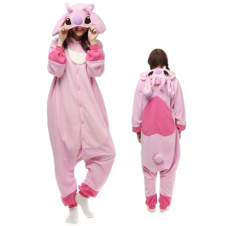 0382044f0eea Pink Stitch Lilo Angel Kigurumi Onesie Pajamas Animal Costumes For Adult