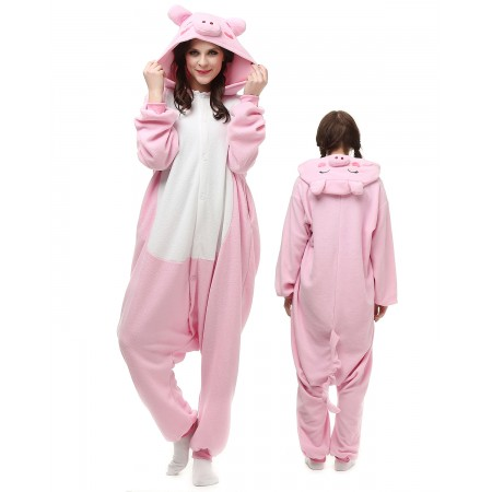 Pink Pig Kigurumi Onesie Pajamas Animal Costumes For Adult