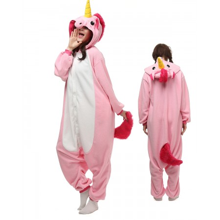 Pink Unicorn Kigurumi Onesie Pajamas Animal Costumes For Adult