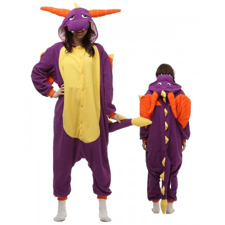Purple Dragon Kigurumi Onesie Pajamas Animal Costumes For Adult