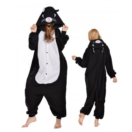 Black Cat Kigurumi Onesie Pajamas Animal Costumes For Adult