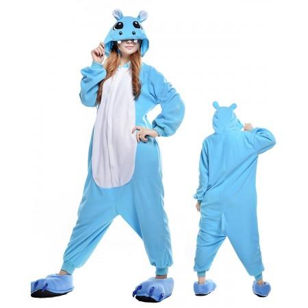 Blue Hippo Kigurumi Onesie Pajamas Animal Costumes For Adult