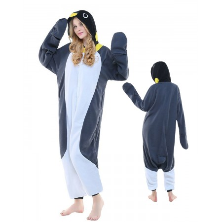 Gray Penguin Kigurumi Onesie Pajamas Animal Costumes For Adult