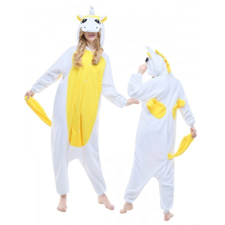 Yellow Unicorn Kigurumi Onesie Pajamas Animal Costumes For Adult