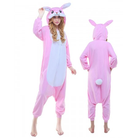 Pink Rabbit Kigurumi Onesie Pajamas Animal Costumes For Adult
