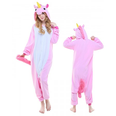 New Pink Unicorn Kigurumi Onesie Pajamas Animal Costumes For Adult