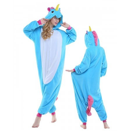 New Blue Unicorn Kigurumi Onesie Pajamas Animal Costumes For Adult