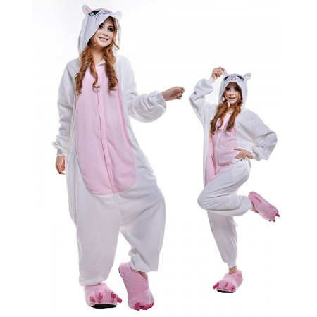 White Cat Kigurumi Onesie Pajamas Animal Costumes For Adult