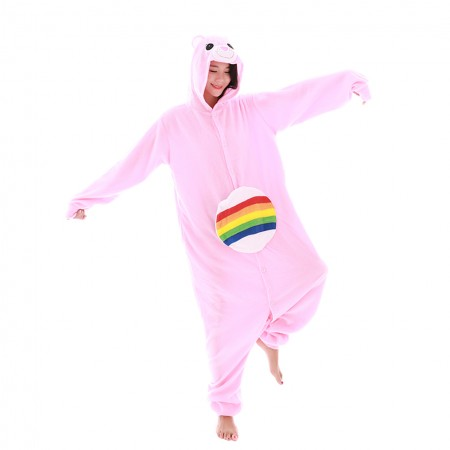 Rainbow Care Bear Onesie Pajamas Animal Costume for Adult