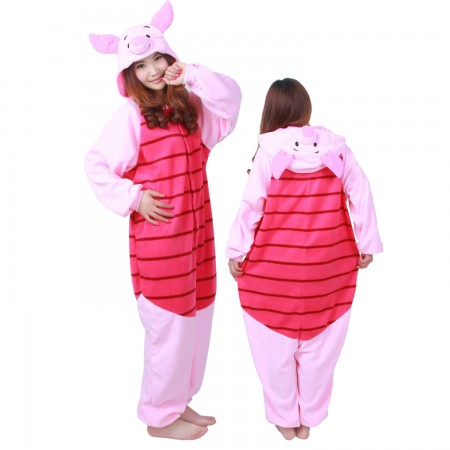 Winnie The Pooh Piglet Costume Pig Onesie Pajamas For Adult & Teens Animal Costumes