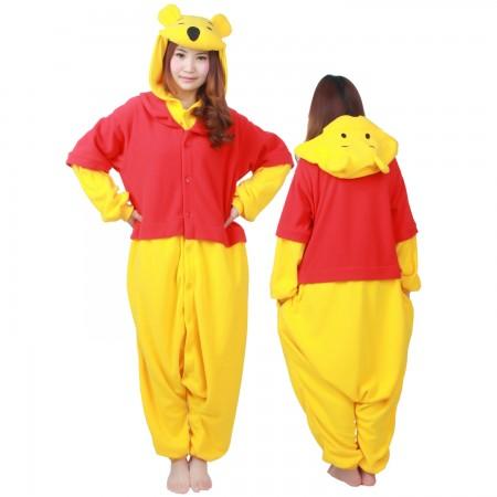 55c44db40ce5 Winnie The Pooh Costume Onesie Pajamas For Adult   Teens Animal Costumes