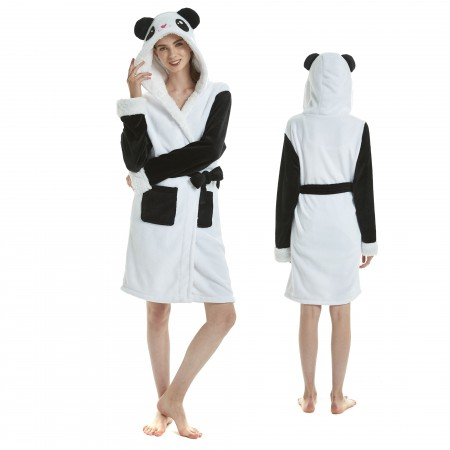 Panda Bathrobe for Adult Kigurumi Animal Womens Hooded Robe Pajamas