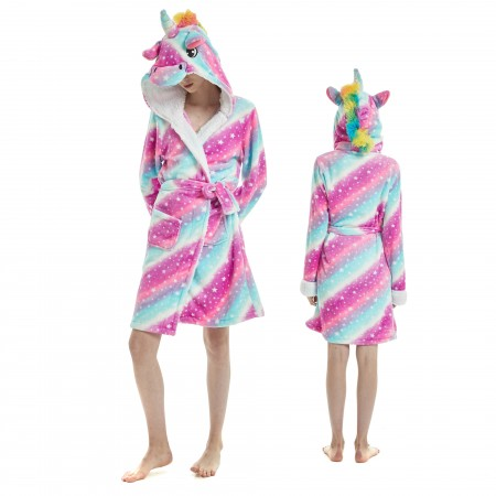 Purple Dream Unicorn Bathrobe for Adult Kigurumi Animal Womens Hooded Robe Pajamas