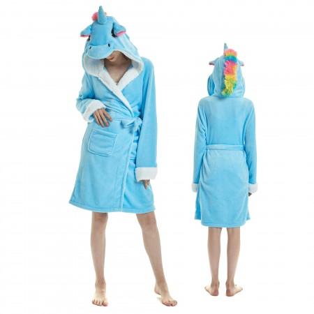 Blue Unicorn Bathrobe for Adult Kigurumi Animal Womens Hooded Robe Pajamas