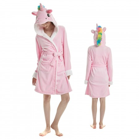 Pink Unicorn Bathrobe for Adult Kigurumi Animal Womens Hooded Robe Pajamas