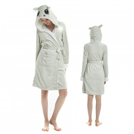 Hippo Bathrobe for Adult Kigurumi Animal Womens Hooded Robe Pajamas