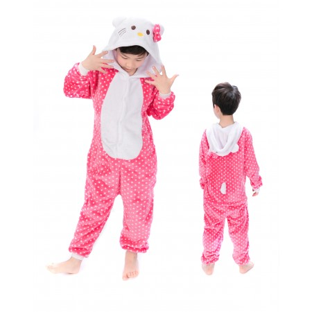 animal kigurumi pink Hello Kitty Cat onesie pajamas for kids