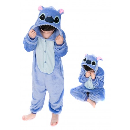 animal kigurumi blue Stitch onesie pajamas for kids