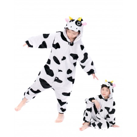 animal kigurumi black white Milk Cow onesie pajamas for kids