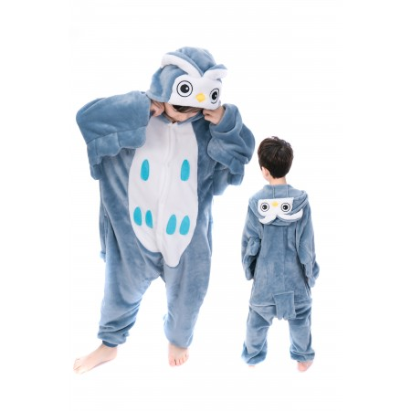 animal kigurumi blue Owl onesie pajamas for kids