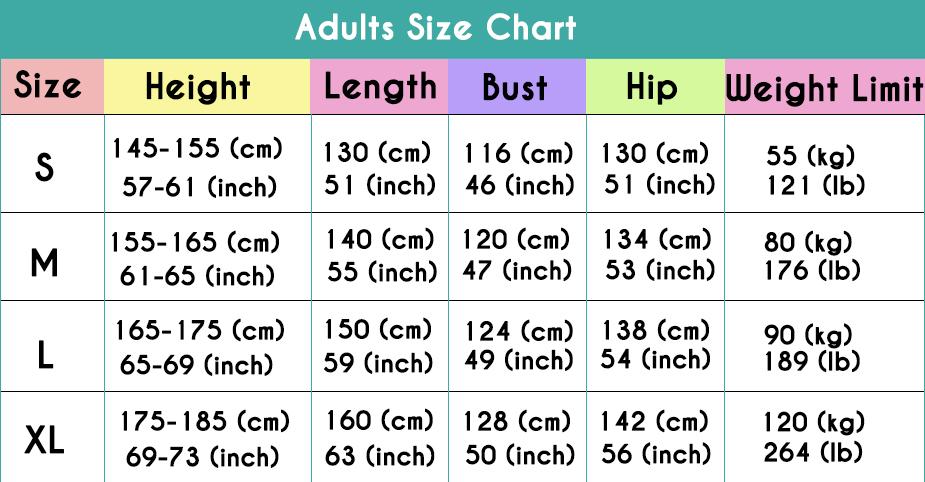 Onesiebuy.com Adult Size Chart