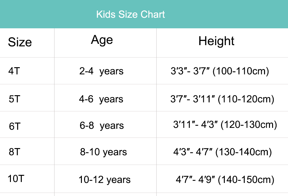 kids onesies size chart